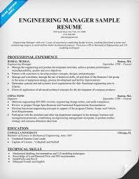 Sample Resume Engineer by Engineering Manager Resume Haadyaooverbayresort Com