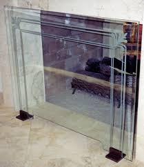 glass fireplace screen etched glass filigree u0026 pinstriped