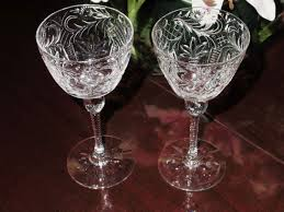 2 abp pairpoint norfolk pattern wine goblets glass cut crystal