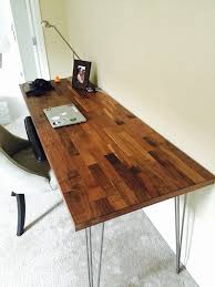 rustic industrial minimalist task desk full view of desk