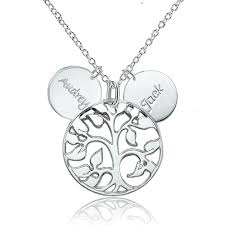 custom necklaces for couples 925 sterling silver family tree engraved couples name custom made