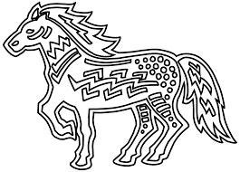 figurative horse black white line art coloring sheet colouring