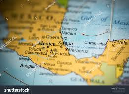 Mexico On Map Map View Xalapa Mexico On Geographical Stock Photo 376026952