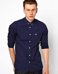 fred perry polka dot print shirt for men lyst