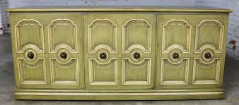 sold hollywood regency credenza green and ivory by henredon style