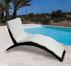 outdoor folding curved rattan wicker chaise lounge chair patio