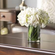 Artificial Flower Arrangement In Vase Faux White Hydrangea Arrangement In Glass Vase U0026 Reviews Joss U0026 Main