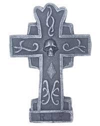 gravestone cross with skull 36 cm halloween decoration horror
