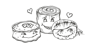 sushi kawaii colouring pages sketch coloring page