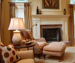 Traditional Family Rooms by For Brick Fireplace Wall Family Room Traditional With Upholstered