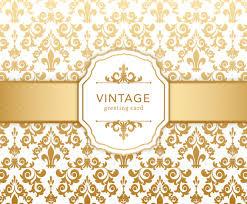 golden vintage damask greeting card vector graphics