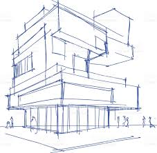 architectural sketch of a modern building stock vector art
