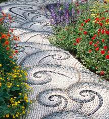 swirly funky cool path in gray and white river rock landscaping