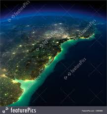 World At Night Map by Night Earth A Piece Of South America Argentina Uruguay And B