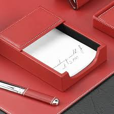 Desk Accessories Sets Red Leather Desk Collection With Chrome Plated Brass Accents