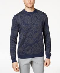 sweater with tasso elba s paisley supima cotton sweater with faux suede
