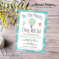 oh the places you will go air balloon invitation map baby