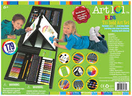 amazon com art 101 kids 179 piece double sided trifold easel art