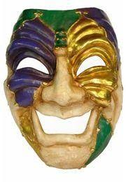 mardi mask mardi gras paper mache comedy venetian big mask 24in x 17in wide