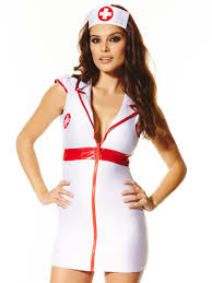 ann summers bedside nurse white red open collar costume