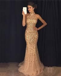 formal gowns luxurious beaded halter floor length evening dresses