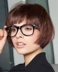 short hairstyles with glasses and bangs brunette bob haircut with bangs paired with glasses new