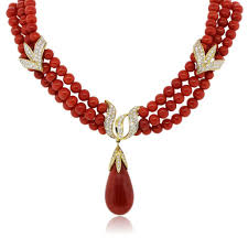 coral necklace images 18k yellow gold diamond triple strand coral necklace jpg