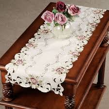 Coffee Table Runners Bella Rose Embroidered Table Runners