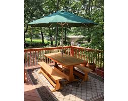 red cedar rectangular trestle picnic table set