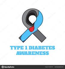 diabetes type 1 awareness papercut ribbon stock vector naumas