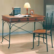 wood metal desk warm wood u0026 dark metal two tone classic home office desk w chair
