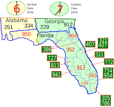Greater Orlando Area Map by List Of Florida Area Codes Wikipedia