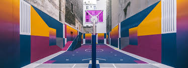 pigalle basketball court canvassed in a gradient of smooth