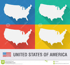 Usa Map Vector by Usa World Map In Flat Style With 4 Colors Stock Vector Image