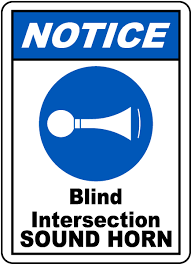 Speed Limit In Blind Intersection Blind Intersection Sound Horn Sign G2454 By Safetysign Com
