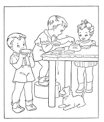 Kids Eating Bread And Peanut Butter Coloring Photos Food Cartoon Coloring Pages Bread