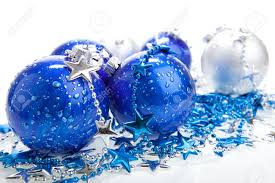 blue baubles with silver decoration isolated stock