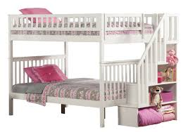 Amazoncom Woodland Staircase Bunk Bed White Full Over Full - Full over full bunk bed