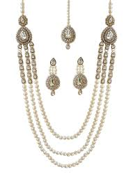 white necklace sets images Buy gold n white necklace set beads kundan stones necklace jpg