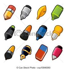 vector clipart of paint and writing tools collection flat style