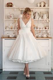 retro wedding dresses milan gathered cross bodice with julietta tea length
