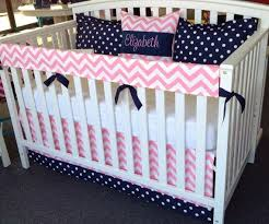 Navy Blue And White Crib Bedding Set 4pc Crib Bedding Set Navy Blue Pink White By Leahashleyokc