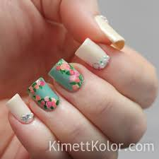 pearls and roses for june nail art by kimett kolor nailpolis