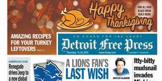 thanksgiving lions get the thanksgiving newspaper on wednesday