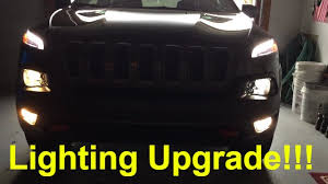 jeep cherokee lights halogen lighting upgrade 2015 jeep cherokee trialhawk youtube