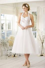 fifties style tea length wedding dress try in our london studio