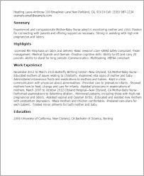 Resume Templates And Examples by Professional Mother Baby Nurse Templates To Showcase Your Talent