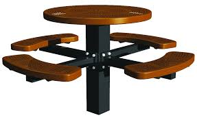 heavy duty round picnic table post mount round perforated picnic table outdoor commercial