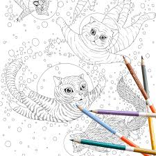 coloring page instant download space cats coloring page