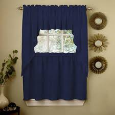 Blue Kitchen Curtains Lorraine Home Fashions Tier Curtains Sears